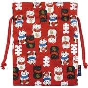オモシロ和柄 巾着 招き猫 赤