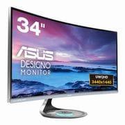 MX34VQ [ASUS Designo Curve 34型 曲面ウルトラワイド液晶ディスプレイ フレームレスデザイン Qiワイヤレス充電ステーション/DisplayPort/HDMI搭載 ダークグレイ]