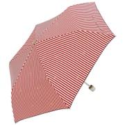 折傘 ストライプリボン レッド [超はっ水折傘 50cm]
