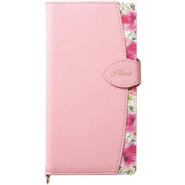 iPhone SE用 手帳型スマホケース FLEUR ピンク