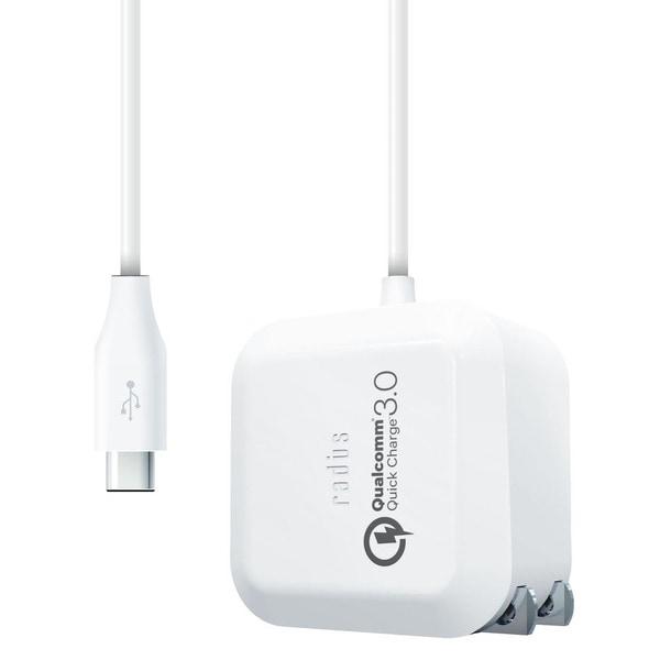 RK-QCD18W [QuickCharge3.0対応 ACアダプター USB Type-Cケーブル直結]