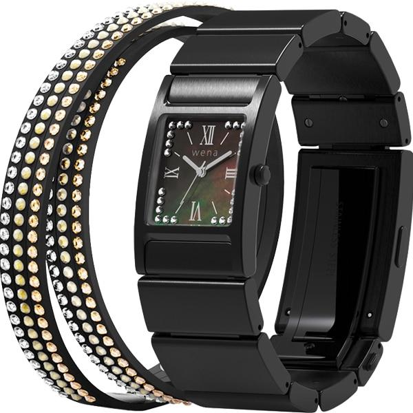 WN-WT12B [wena wrist(ウェナ リスト) Three Hands Square Premium Black Crystal Edition]