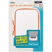 New2DSLL/New3DSLL/3DSLL用 カーボンスタイルポーチ ホワイト×オレンジ