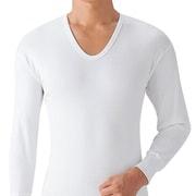 SV61102 [インナーシャツ やわらか肌着 綿100% 抗菌防臭加工 長袖U首 2枚組 ホワイト Mサイズ]