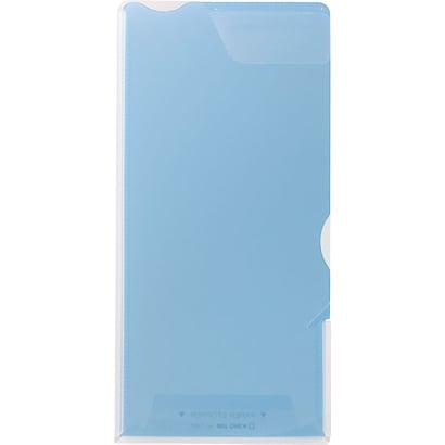 728Tアオ [スーパーハードホルダー A4 1/3透明(マチ付)青]