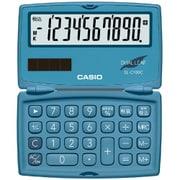 SL-C100C-BU-N [ポケットサイズ電卓 10桁表示 折りたたみ手帳タイプ レイクブルー]