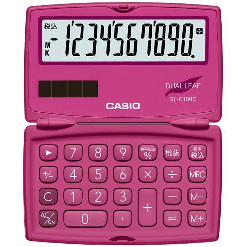 SL-C100C-RD-N [ポケットサイズ電卓 10桁表示 折りたたみタイプ ビビッドピンク]