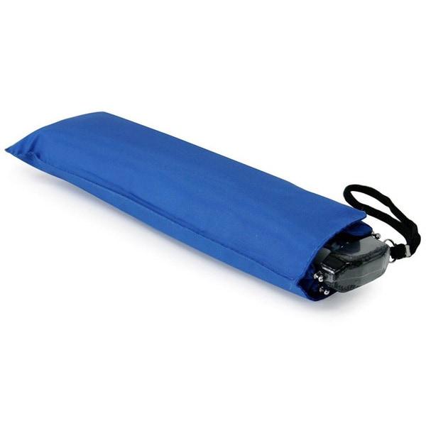 フラットスリム 三つ折り傘 無地 ブルー 50cm