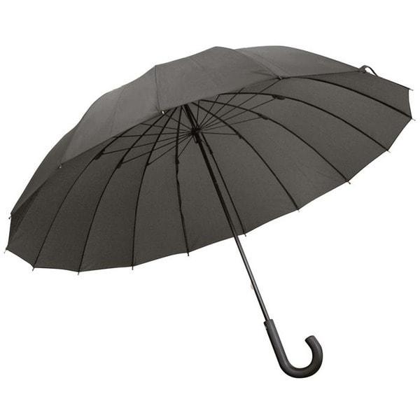 紳士傘 16本骨 グラスファイバー 無地 黒 65cm