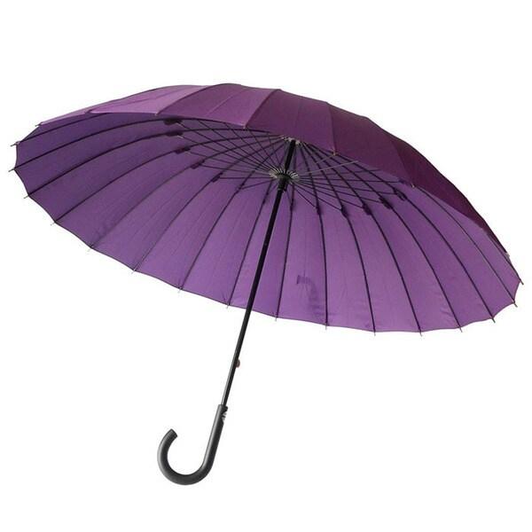 長傘 24本骨 グラスファイバー 無地 紫 65cm