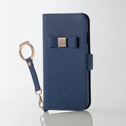 PM-A17MPLFJRNV [iPhone 8/7用 手帳型ケース 女子向 リボンリングストラップ付 ネイビー]