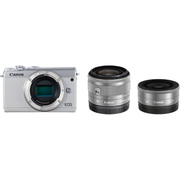 EOS M100 ダブルレンズキット ホワイト [ボディ+交換レンズ「EF-M15-45mm F3.5-6.3 IS STM」「EF-M22mm F2 STM」]