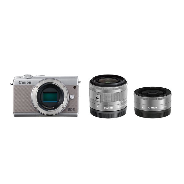 EOS M100 ダブルレンズキット グレー [ボディ+交換レンズ「EF-M15-45mm F3.5-6.3 IS STM」「EF-M22mm F2 STM」]