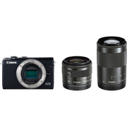 EOS M100 ダブルズームキット ブラック [ボディ+交換レンズ「EF-M15-45mm F3.5-6.3 IS STM」「EF-M55-200mm F4.5-6.3 IS STM」]