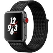 Apple Watch Series 3 Nike+ (GPS + Cellularモデル) - 38mm スペースグレイアルミニウムケース と ブラック/ピュアプラチナNikeスポーツループ [MQMA2J/A]