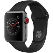 Apple Watch Series 3 (GPS + Cellularモデル) - 38mm スペースグレイアルミニウムケース と ブラックスポーツバンド [MQKG2J/A]