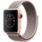 Apple Watch Series 3 (GPS + Cellularモデル) - 38mm ゴールドアルミニウムケース と ピンクサンドスポーツループ [MQKL2J/A]
