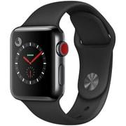 Apple Watch Series 3 (GPS + Cellularモデル) - 38mm スペースブラックステンレススチールケース と ブラックスポーツバンド [MQLW2J/A]