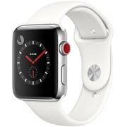 Apple Watch Series 3 (GPS + Cellularモデル) - 42mm ステンレススチールケース と ソフトホワイトスポーツバンド [MQLY2J/A]