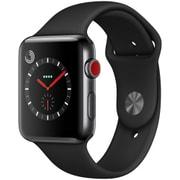 Apple Watch Series 3 (GPS + Cellularモデル) - 42mm スペースブラックステンレススチールケース と ブラックスポーツバンド [MQM02J/A]