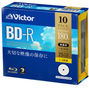VBR130YP10J1 [BD-R(Video) 片面1層 1回録画用 地上デジタル:180分 BSデジタル:130分 1-4倍速 1枚5mmケース10P インクジェットプリンタ対応(ホワイト) ワイド印刷エリア対応]