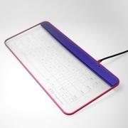 Q-gadget KB02 NR [ガラス製ワイヤレスタッチキーボード (USB接続可) ネイビー・アンド・レッド]