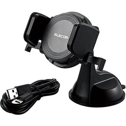 W-QC01BK [Qi規格対応 ワイヤレス充電器 9W/5W 車載ホルダー付 ブラック]