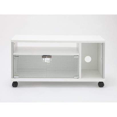 AVG800-WY-01WT [~32V型テレビ用ガラス扉付きテレビ台 キャスター付き ホワイト]