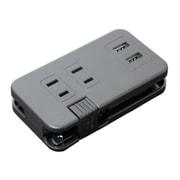 IPA-24AC2/BK [ACコンセント搭載 USB2ポートUSB-ACアダプタ ブラック]