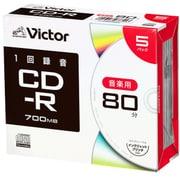 AR80FP5J2 [CD-R(Audio) <片面1層> 1回録画用 80分 1-24倍速 1枚5mmケース(透明)5P インクジェットプリンタ対応(ホワイト) ワイド印刷エリア対応]