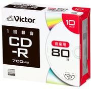 AR80FP10J2 [CD-R(Audio) <片面1層> 1回録画用 80分 1-24倍速 1枚5mmケース(透明)10P インクジェットプリンタ対応(ホワイト) ワイド印刷エリア対応]