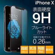 iPhone X プレミアムガラス9H PETフレーム ブルーライトカット 0.26mm 液晶保護フィルム ブラック