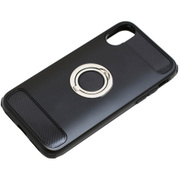 BCJI1703BK [iPhone X用ケース リング付き 耐衝撃 ブラック]
