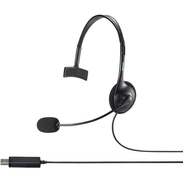 BSHSHUM110BK [片耳ヘッドバンド式ヘッドセット USB接続 φ27mmドライバーユニット搭載 ブラック]