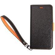 CR I55CSPLNU BO [Corallo 合皮手帳型ケース for iPhone 8 Plus/7 Plus/6s Plus/6 Plus ブラック+オレンジ]