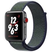 Apple Watch Series 3 Nike+ (GPS + Cellularモデル) 38mm スペースグレイアルミニウムケース と Nikeスポーツループ ミッドナイトフォグ [MQMD2J/A]