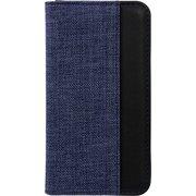 OWL-CVIP7S03-NVBK [iPhone SE(第2世代)/8/7/6s/6 4.7インチ用 手帳型ケース キャンバス×レザーデザイン ブルー×ブラック]