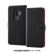 INA-GS9PELC1/BR [Galaxy S9+ 手帳型ケース ベーシックレザー/ブラック/レッド]