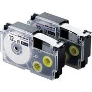 CTC-CXR12WE-2P [ネームランド用互換テープ 白テープ/黒文字 8m 12mm幅 2個パック]