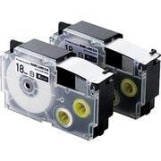 CTC-CXR18WE-2P [ネームランド用互換テープ 白テープ/黒文字 8m 18mm幅 2個パック]