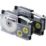 CTC-CXR9X-2P [ネームランド用互換テープ 透明テープ/黒文字 8m 9mm幅 2個パック]