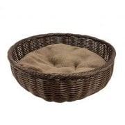 手編みラウンドベッド ブラウン [犬用ベッド]