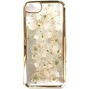 PF-I7S-056 [押し花ケース iPhone 8/7/6s/6用 White perals/Gold]