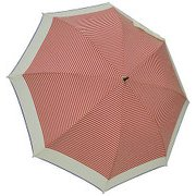1109-OW×RD [雨晴兼用 マリンボーダー ショートワイド雨傘 オフホワイト×レッド 60cm スライド式中棒]