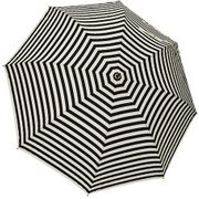 1111-OW×BK [雨晴兼用 ボーダー柄 ショートワイド竹手元雨傘 オフホワイト×ブラック 60cm スライド式中棒]