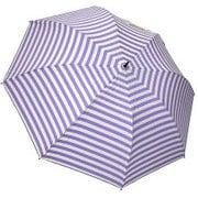 1116-OW×PU [雨晴兼用 ボーダープリント ショートワイド雨傘 オフホワイト×パープル 60cm スライドしないタイプ]