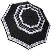 1115-BK [雨晴兼用 レースプリント ショートワイド雨傘 ベージュ 60cm スライドしないタイプ]