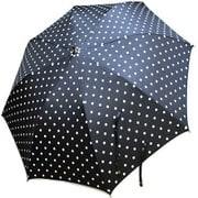 1108-BK [雨晴兼用 裾パイピングドット柄 ショートワイド雨傘 ブラック 60cm スライド式中棒]