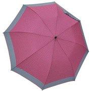 1109-GY×PK [雨晴兼用 マリンボーダー ショートワイド雨傘 グレー×ピンク 60cm スライド式中棒]