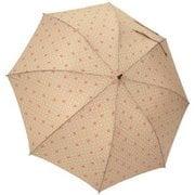 1101-BE [雨晴兼用 リボンドット ショートワイド雨傘 ベージュ 60cm スライド式中棒]